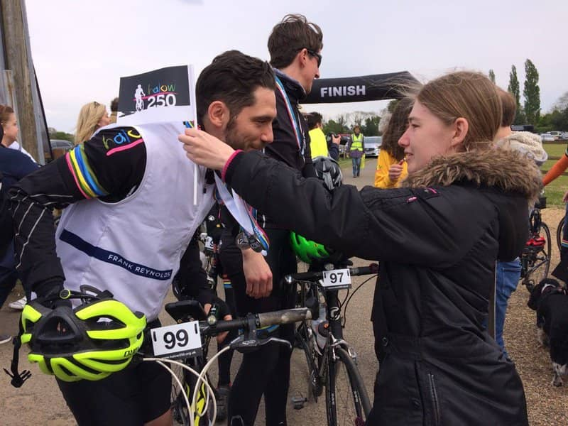 man winning cycling challenge